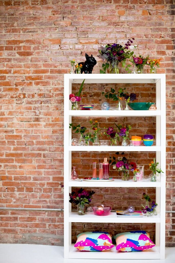 Vibrant Geek-Chic Styled Shoot design- same sex couple wedding - colorful floral wedding bar
