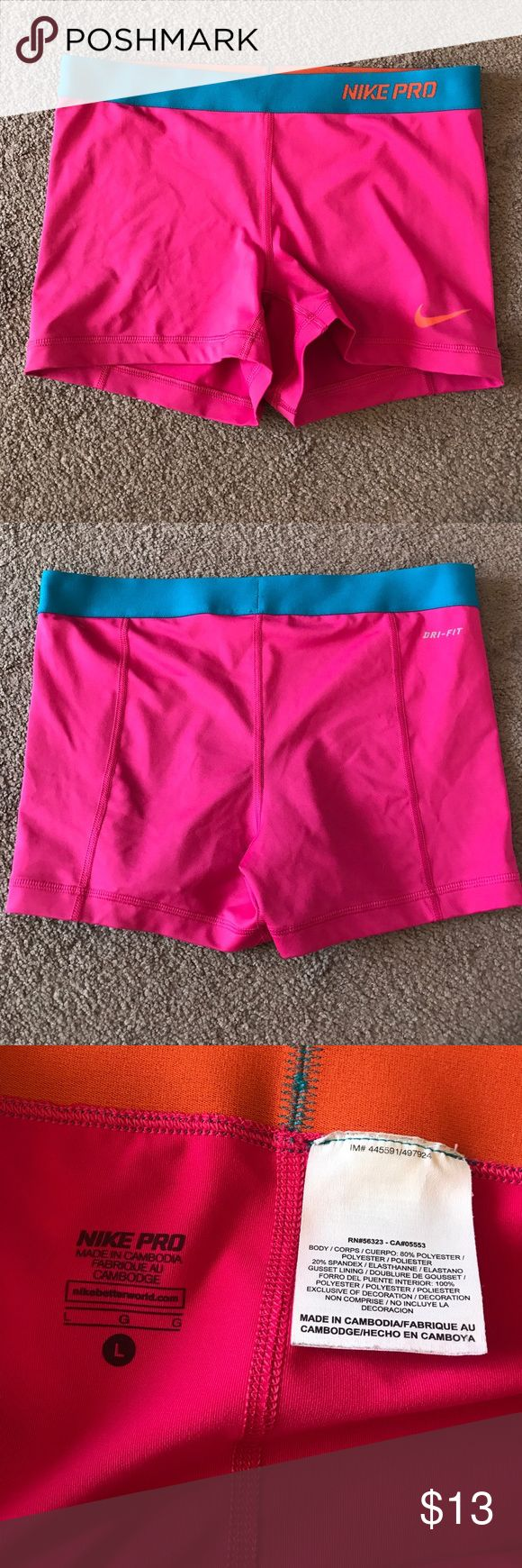 Women's Nike Pro Dri Fit Pink Shorts Size L Size large. Show normal wear. No major flaws. Nike Shorts