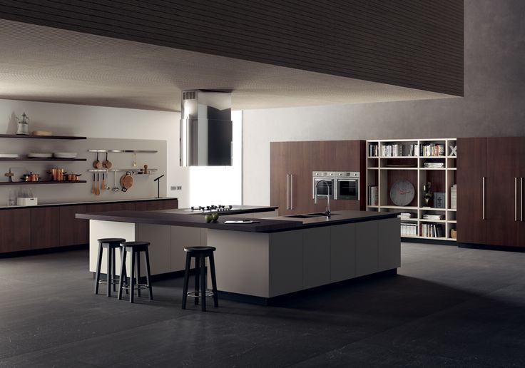 A highly effective scenic presence is provided by the twin island that marks both the cooking zone and the washing zone, which is integrated into the Pulpis Nat porcelain stoneware worktop.