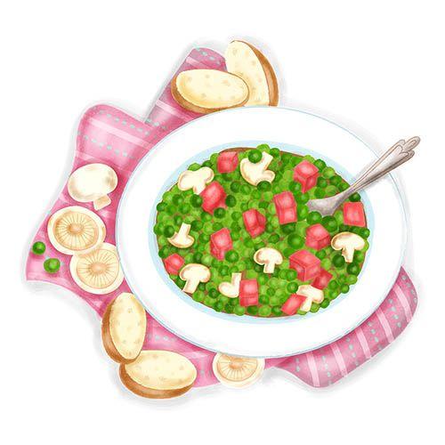 boiled peas with tasso ham illustration