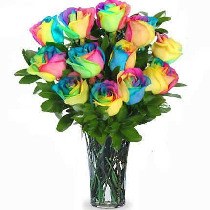 rainbow roses arragnements | Rainbow Spectacular Rose Bouquet, Rainbow Roses, Long Stem Roses My ...