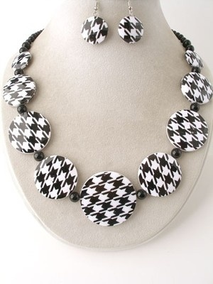 Black White Houndstooth Acrylic Chunky Jewelry Necklace earrings Fashion Jewelry