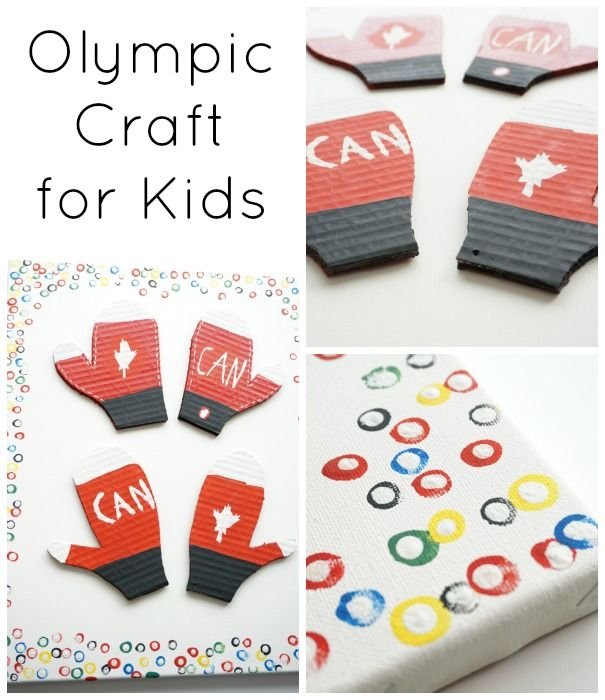 Olympic craft for kids - show your support with this fun craft...what is a symbol for Olympic pride in your country? Put that symbol in the middle of the Olympic ring canvas.