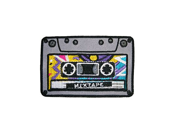 Mixtape Iron On Patch Embroidery Sewing DIY Customise Denim Cotton Cassette…