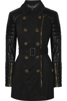 W118 by Walter Baker Keanu quilted faux leather and cotton trench coat | THE OUTNET