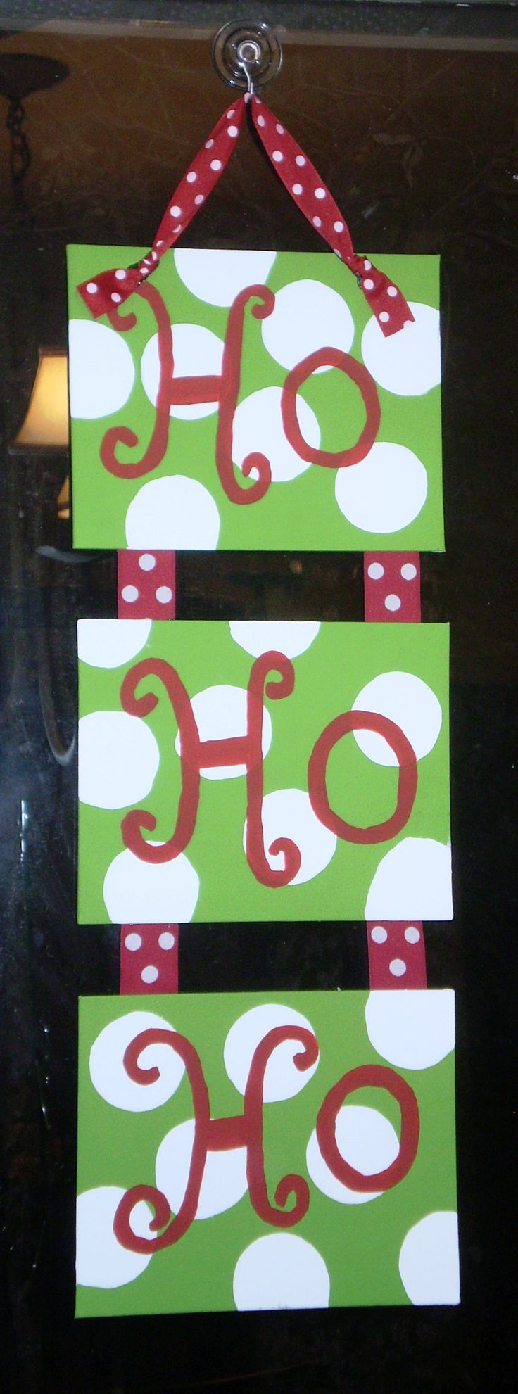 Lime green and red hand painted canvas with ribbon