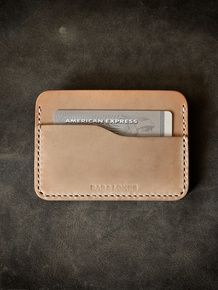 """Ford"" Natural Vegetable Tanned Handmade Leather Slim Wallet"