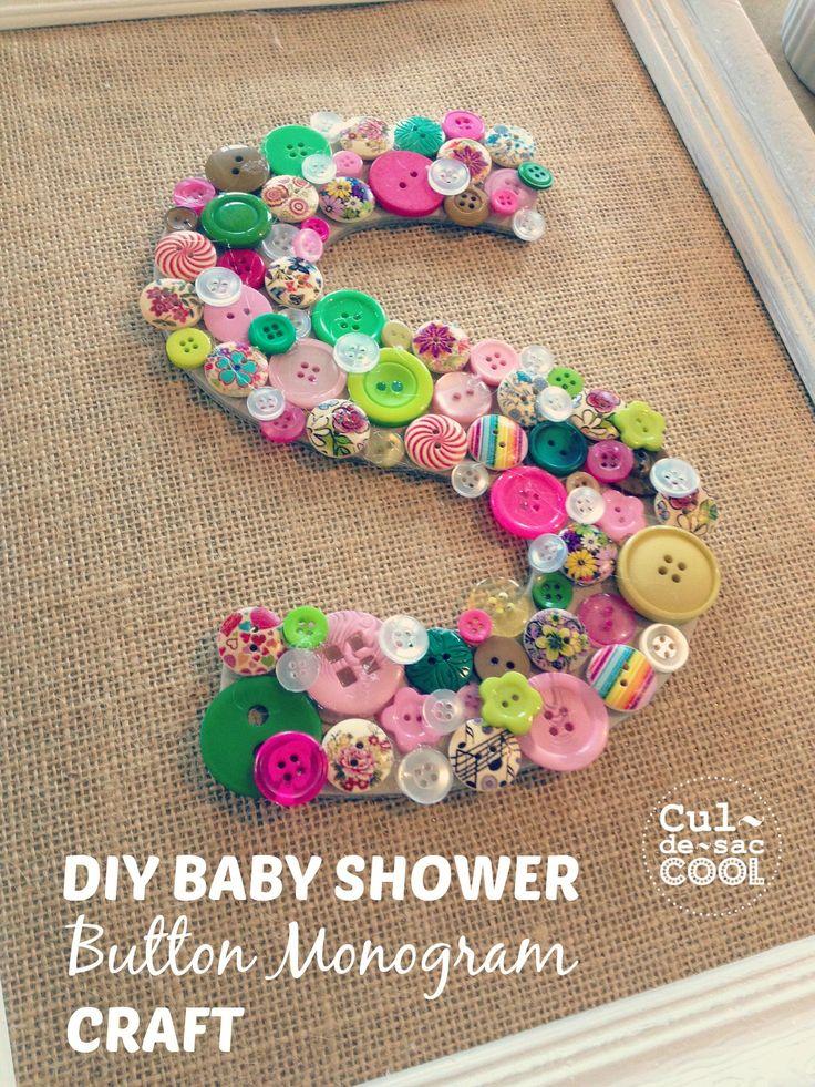 DIY Baby Shower Button Monogram Craft 16.2