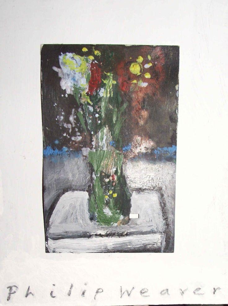 "Pot of flowers .  Oil on train ticket .  3 1/4""  x   2 1/8 "" .  Philip Weaver.  ."