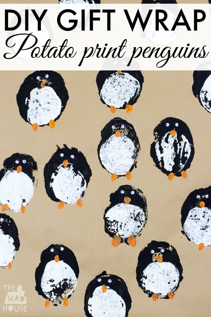 DIY gift wrap - potato print penguins. Create your own wrapping paper with this festive kids craft. It is simple to make and looks so effective.