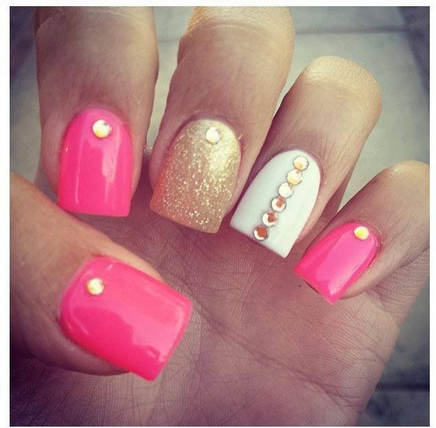 Gold pink and white nails