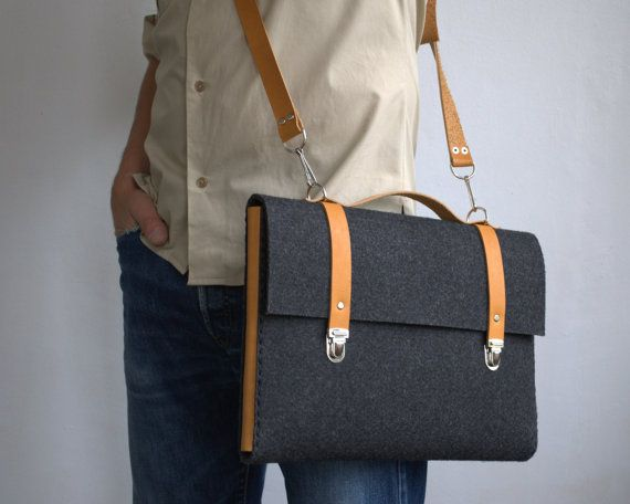 MacBook 15 Pro case sleeve satchel briefcase dark grey industrial felt with leather handle  handmade by SleeWay Studio designers
