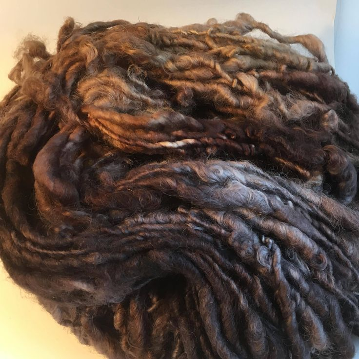 Black, Brown and Caramel English Leicester  Handspun Chunky Yarn by hawthornecottage on Etsy