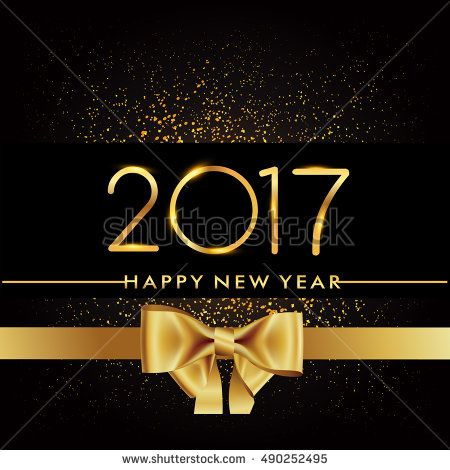 Happy New Year 2017 with golden glitter isolated on black background, text design gold colored, vector elements for calendar and greeting card