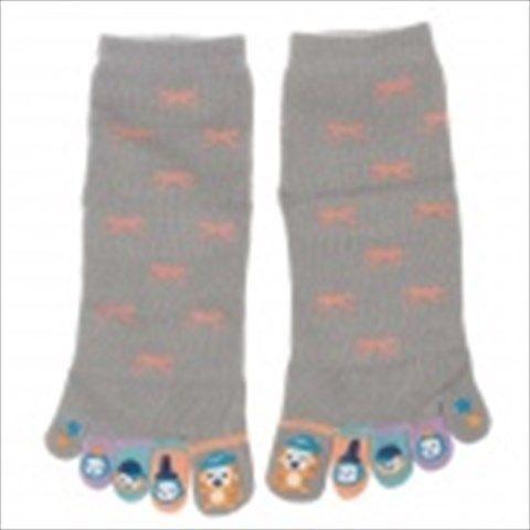 Enbl 5231 100% Cotton Fashionable Women's Toe Socks - Grey (Pair)  $6.69