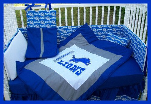New Custom Baby Crib Bedding Set M w NFL Detroit Lions Team Fabric | eBay