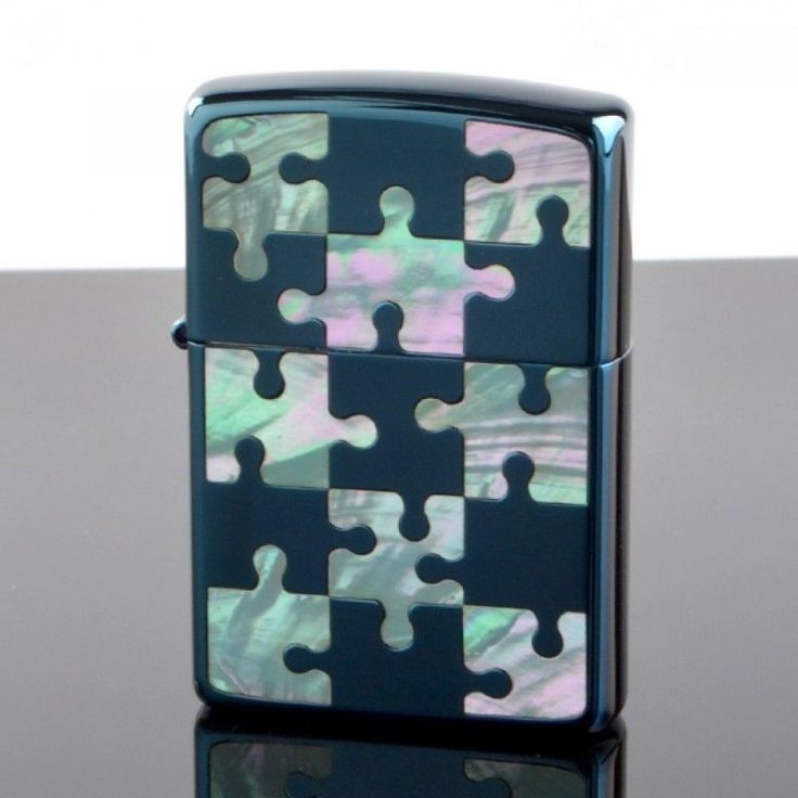 Zippo Lighter SHELL PUZZLE Blue Titanium x Shell Inlay 2-Sides Design JP Model