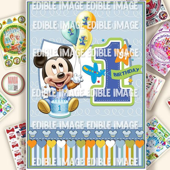 Micky Mouse 1st Birthday Edible Cake Topper. от EdibleCakePrint