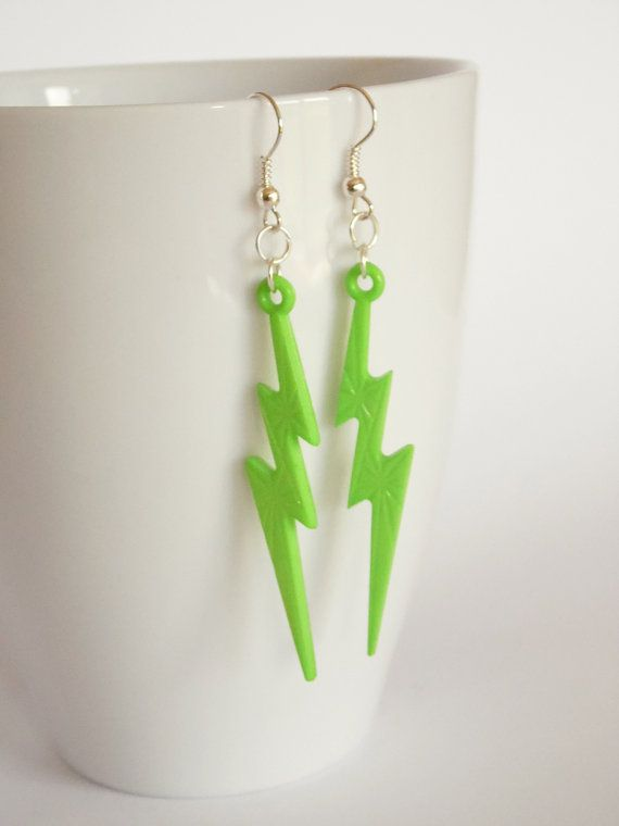 Neon Green lightening bolt earrings by LilRedsBoutique on Etsy, €3.00