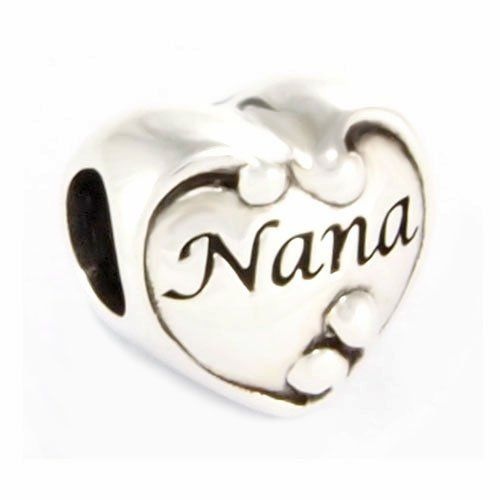 Sterling Silver Heart Love Nana Bead Charm