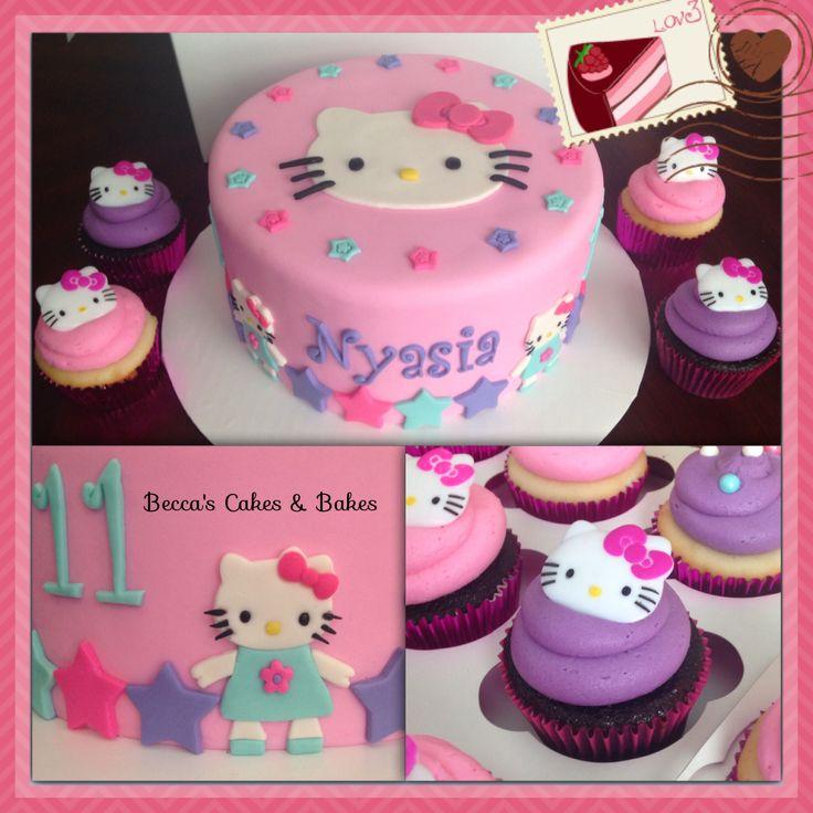 Hello Kitty birthday cake and cupcakes #hellokitty