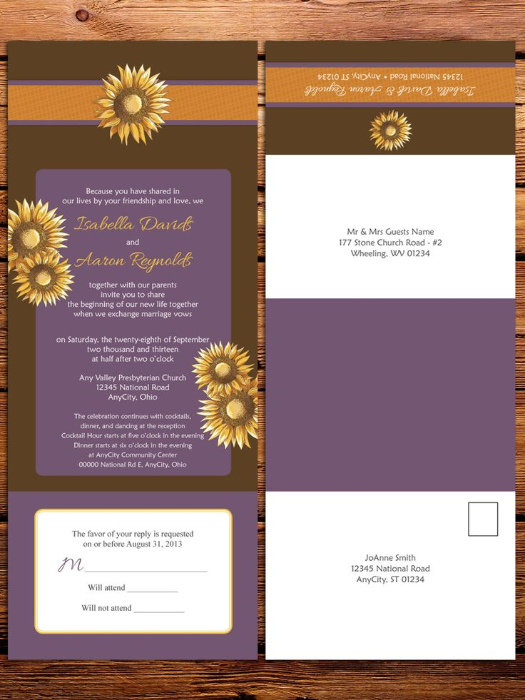 sunflower wedding invitations printable%0A Sunflower Wedding Invitations with attached by LittleBeesGraphics