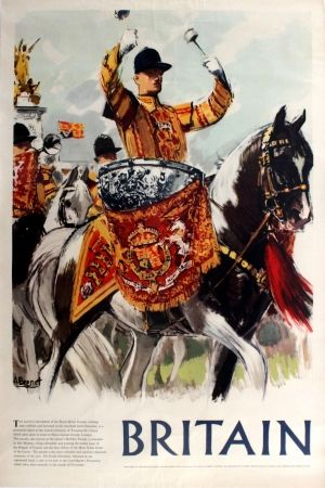 Britain Royal Horse Guards, 1950s - original vintage poster by A Brenet listed on AntikBar.co.uk #LongestReign