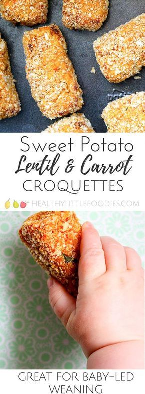 Sweet potato, lentil and carrot croquettes. A great finger food for babies, soft and easy to hold. Great for big kids too. Toddler approved, hidden veg, fussy eater, baby-led weaning. via @hlittlefoodies