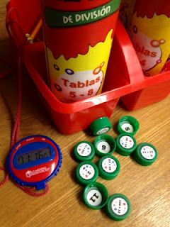 Recycling!!! Using Avery 5408 labels, I created math facts labels and placed them on bottle caps (problem on top, answer on the inside). Using timers, my students practice how many they can do in a minute, and they graph those results. We have a goal in the classroom that we all want to reach, and students earn classroom dollars when they reach that goal.