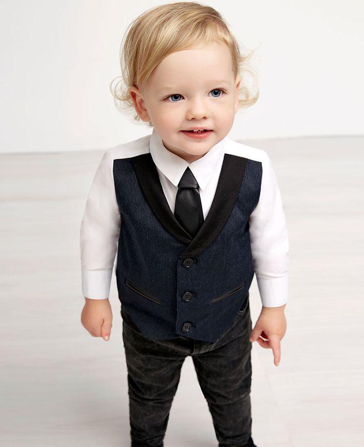 Baby Boy's Pinstripe Vest Two Piece - Bardot Junior