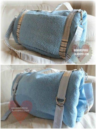Molde Toalha bolsa de Praia Azul (Beach Towel Bag to DIY with pattern)