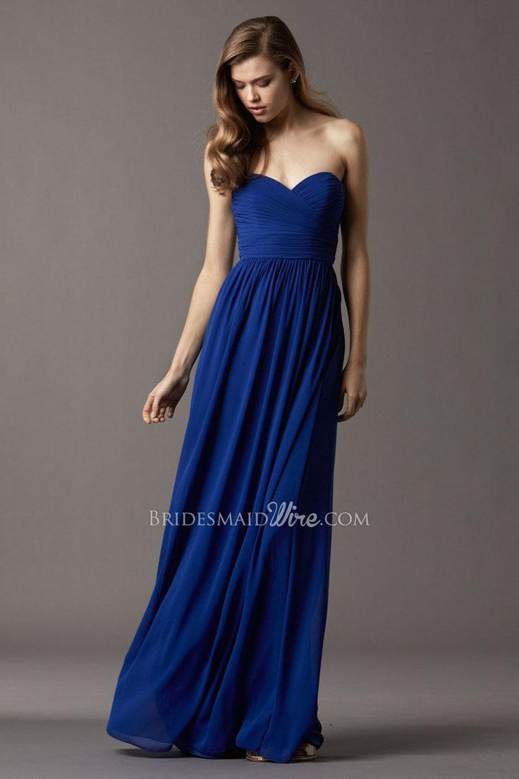 23 best for my girls bridesmaids images on pinterest blue royal blue chiffon sweetheart strapless floor length long bridesmaid dress ombrellifo Images