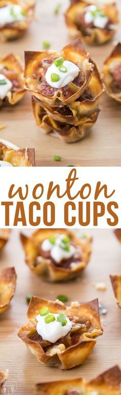 Wonton Taco Cups - These mini taco cups have layers of crunchy wonton shells, seasoned beef and melty cheese. Top them with everyone's favorite toppings for a great appetizer or dinner!