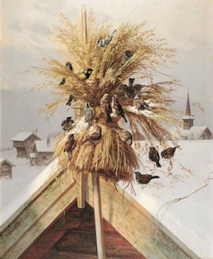 Gerbe de blé pour les oiseaux, Scandinavie