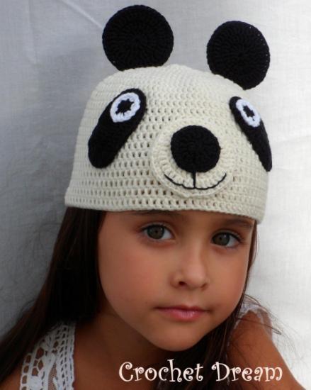 panda , gorro para niña tejido a crochet - artesanum com ...