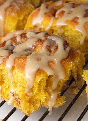 Amish Pumpkin Cinnamon Rolls with Caramel Icing #recipe #YUM