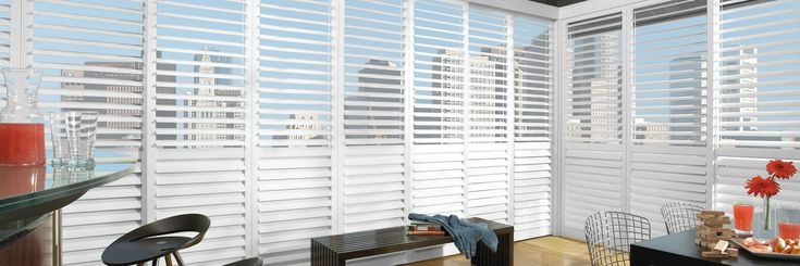 The NewStyle® Hybrid Shutters are plantation-style shutters that blend the beauty of real wood and advanced modern-day materials to create a stunning and durable window covering for any room. #hunterdouglas #newstyle #shutters