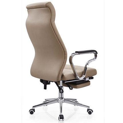 Tilt Chrome Leather Reclining Office Chair Footrest Headrest_China staff office chairs & leisure seating factory in Alibaba