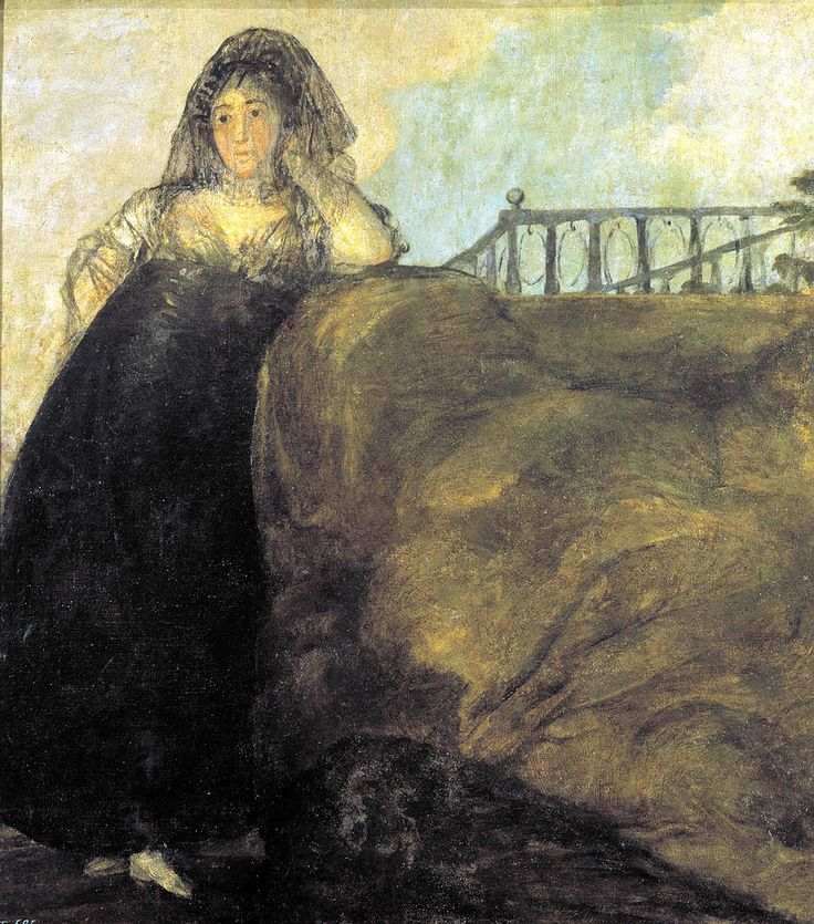 """Francisco de Goya: """"Una manola: Leocadia Zorrilla"""".145,7 x 129,4 cm. Pinturas negras (Black Paintings), 1820-1823. Museo Nacional del Prado, Madrid, Spain"""