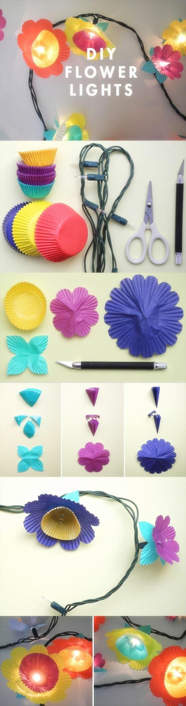 DIY :: Flower Lights. Cute for a little girl's room or a bridal shower?