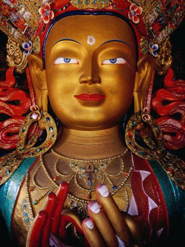 Stature of Maitreya Buddha at Thiksey Monastery, Ladakh, India.