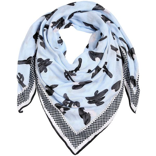 Kenzo Women Cactus Printed Cotton Scarf found on Polyvore featuring accessories, scarves, light blue, kenzo, kenzo scarves, cotton scarves and cotton shawl