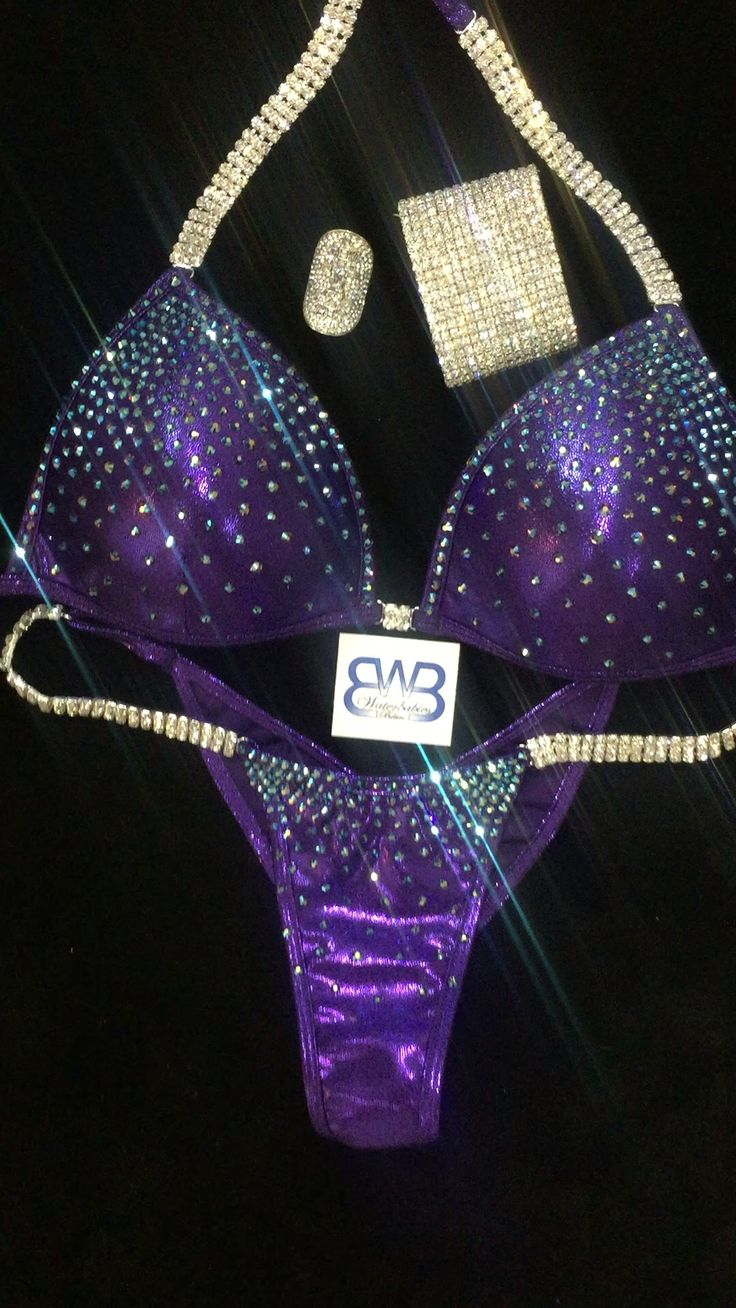 Deep eggplant purple competition bikini with Deep Tanzanite Ab Crystals! Sparkle!  Waterbabiesbikini.com