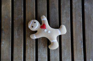 Handmade toy Gingerbread man. Gingerbread man plushie. Stuffed plush. Christmas beige gingerbread man.Cookie man