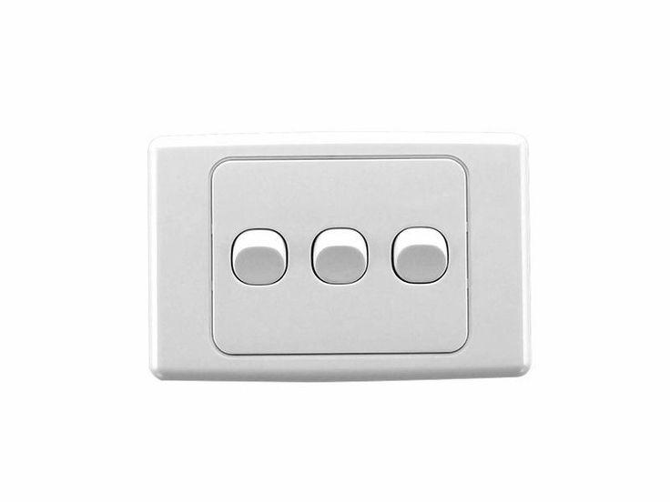 Clipsal 2033HA White 2000 Series Light Switch Three Gang Triple Wall Plate