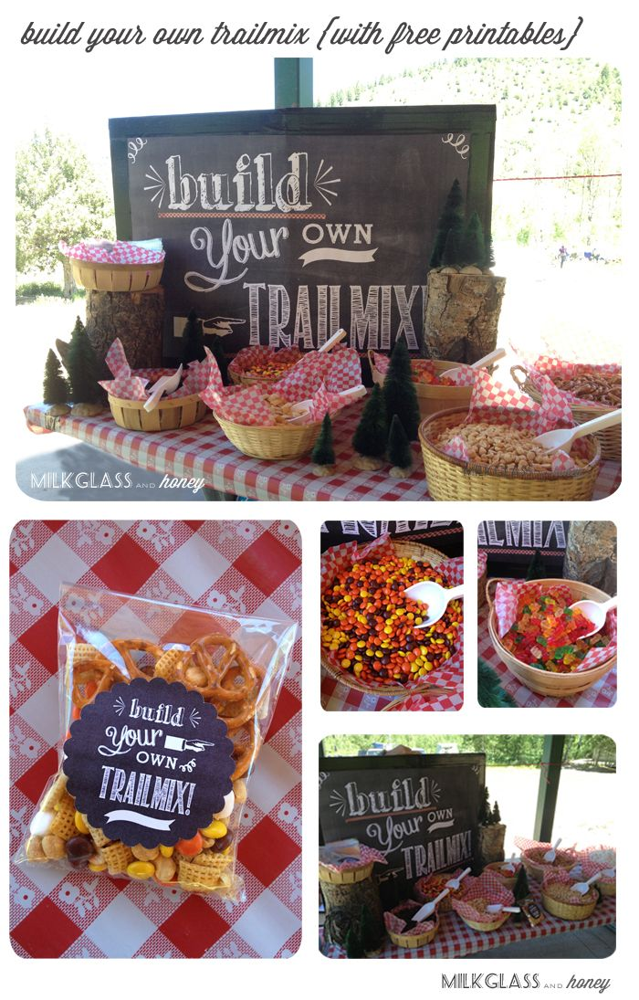 Build your own Trailmix Bar with free printables - via Milkglass and Honey