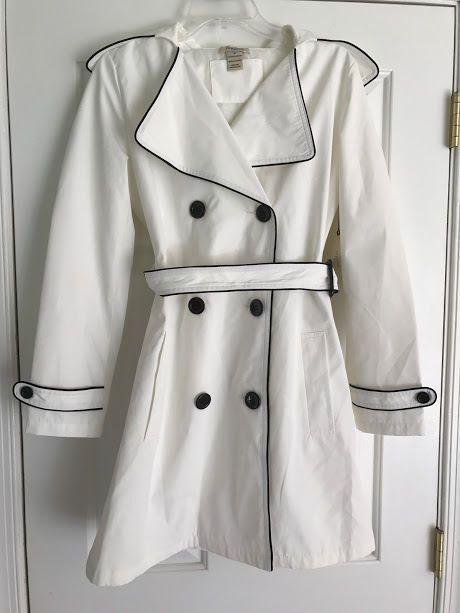 VERTIGO PARIS WOMEN'S IVORY OFF WHITE RAIN JACKET TRENCH COAT SIZE M NWT #Vertigo #Trench #coat #white #paris #jacket #google #winter #ebay
