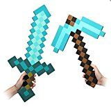 Pixel Foam Sword Pickaxe Combo Set Of 2 Foam Blue Diamond Sword and for Boys and Girls for birthday party Pixel Miner Gaming not minecraft
