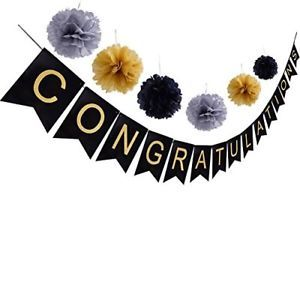 CONGRATULATIONS Banner Sign For Graduation Party Supplies Decoration Kit, With  | eBay