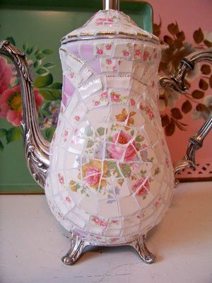 broken glass tea pot...brilliant! <-- I have a broken glass collection I've been wanting to do something with. Hmm.